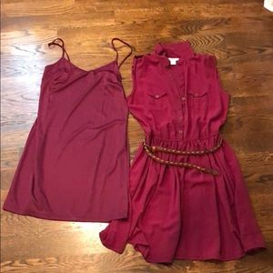 Dress with slip and belt